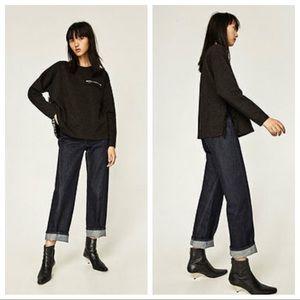 Zara Tops - NWT. Zara black sweatshirt. Size M.